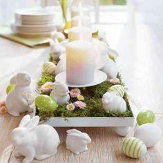 centre de table avec des lapins en porcenaine