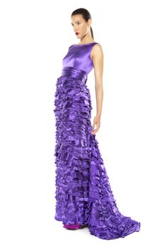 Silk satin evening gown with ruffles Formal Wear, Formal Dresses, Silk Satin, Evening Gowns, Ruffles, Fall Winter, One Shoulder, Fashion, Evening Gowns Dresses