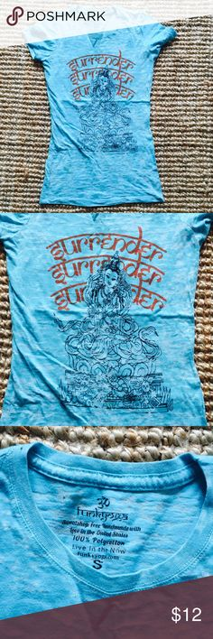 Funky Yoga Surrender T-Shirt Cool and fun this yoga tradition inspired ti dye t-shirt has an ancient wisdom Surrender Surrender Surrender written in the front. Handmade with Love in the U.S. Worn only a couple times. Funky Yoga Tops Tees - Short Sleeve