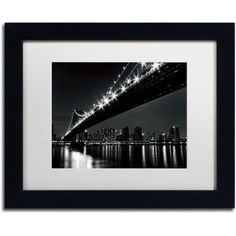 Trademark Fine Art Manhattan Bridge Canvas Art by Katherine Gendreau, White Matte, Black Frame, Size: 16 x 20