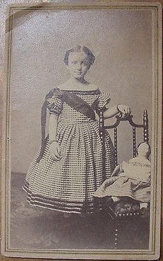 Antique CDV Photograph Young Girl With China Doll