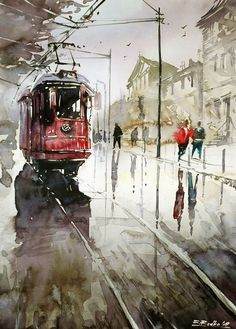 One of the best wet street scenes in watercolor  I have seen.  The wet reflections are perfect.  This is very hard to do, but the rest of the qualities are there too.....wdk