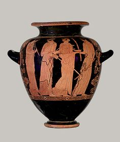 Red Figure    Red figure pottery appears from around 530BC. The name applies to pottery where the main figures are in red against a black background. This is achieved by reversing the process detailed for black figure pottery.