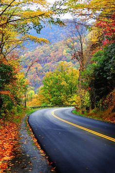 The Road - Blue Ridge Mountains, North Carolina - This Is The Blue Ridge Parkway Indeed - (JL) Beautiful Roads, Beautiful World, Beautiful Places, Road Pictures, Nature Pictures, Fall Pictures, Beautiful Nature Wallpaper, Beautiful Landscapes, Autumn Scenery