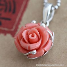 Handmade 925 Silver Inlaid Dyed Red Coral Rose Pendant
