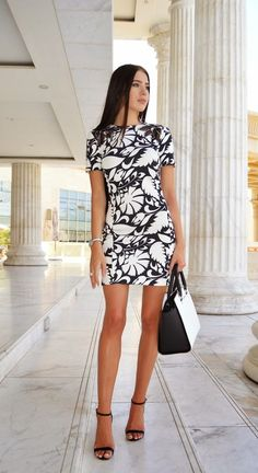 ZARA monochrome floral leaf lace black white neoprene dress M 10 38 #ZARA #SheathDress #Formal