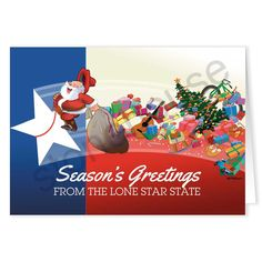 Riding the star into the holiday season!  Season's Greetings from the Lone Star State!  Texas Flag & Santa Christmas Card
