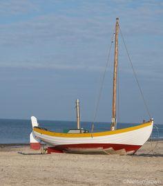 An elegant sailing fishing beach-boat, Denmark