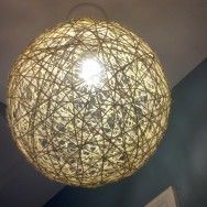 Massive twine balls -- how about sticking Christmas lights inside for a soft, glittery effect? Light Fixture Covers, Light Fixtures, Pendant Lamp, Pendant Lighting, Christmas Lights Inside, Candle Power, Light Rays, Craft Night, Diy Projects To Try