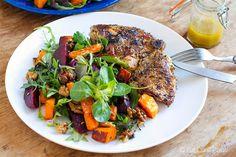 Beetroot & Pumpkin Salad with Oregano Garlic Chicken (Eat Drink Paleo) Paleo Dinner, Dinner Recipes, Dinner Meal, Dinner Salads, Pumpkin Salad, Garlic Chicken, Chicken Salad, Grilled Chicken, Paleo Recipes