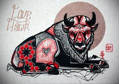 "David Hale Artwork ""Buffalo"" Screen Print Size: x Deer Tattoo, Fox Tattoos, Tree Tattoos, Raven Tattoo, Tattoo Ink, Arm Tattoo, Tatoos, Native Art, Native American Art"