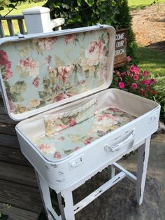 Shabby Chic Furniture: How to Paint and Distress – Shabby Chic Talk Decoupage Suitcase, Suitcase Decor, Suitcase Table, Shabby Chic Crafts, Shabby Chic Homes, Shabby Chic Decor, Repurposed Furniture, Shabby Chic Furniture, Painted Furniture