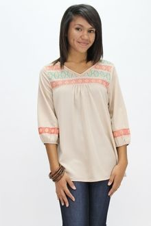 A Touch of Aztec Blouse - Southern Flair Boutique