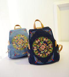 Mochila de couro legitimo mochila feminina mochilas de viagem bordado étnico estilo retro bolsas de ombro bolsa de lona feminino