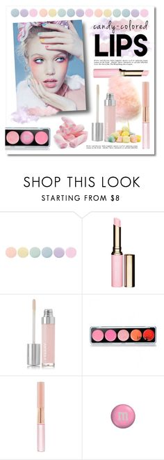 """""""Candy-Colored Lips"""" by lgb321 ❤ liked on Polyvore featuring beauty, Deborah Lippmann, Clarins, By Terry, Oscar de la Renta, pastel, lips, candy, pastels and candylips"""