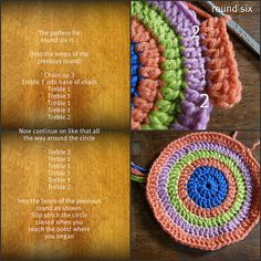 how to crochet a round pot holder.........I need to master this so I can make a rug out of t-shirt yarn
