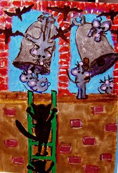 ACEO ATC I Heard the Bells mice mouse Christmas cat Original whimsical Cat-toon #Miniature