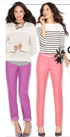 LOFT print sweaters and colored skinny jeans