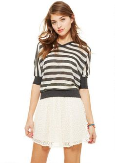 Lace Skater Skirt - Skirts - Clothing - dELiA*s-This skater skirt has a girly touch with the lace.