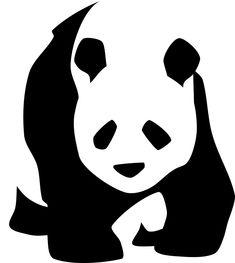 Panda, À Pied, Visage, Noir Et Blanc, Silhouette