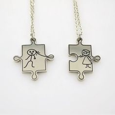 Couples Idea Him and Her Matching Necklaces in Titanium Steel