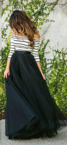 Striped off Shoulder 3/4 Sleeve Evening Dress