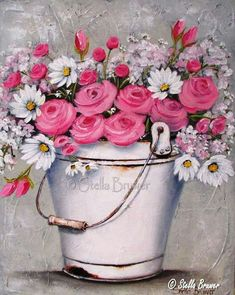 Stella Bruwer white enamel bucket of daisies and pink roses Decoupage Vintage, Art Floral, Photo Vintage, Jolie Photo, Naive Art, Pictures To Paint, Painting Inspiration, Painting & Drawing, Pink Painting