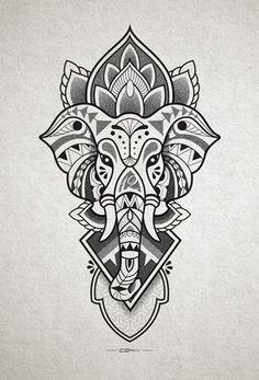 Elephant head tattoo design for inner forearm. http://instagram.com/conlll http://www.facebook.com/conetree