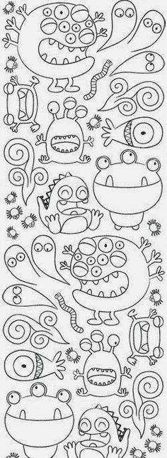 Monsters coloring pages! Doodles, Arts And Crafts, Paper Crafts, Monster Party, Colouring Pages, Teaching Art, Elementary Art, Doodle Art, Art Education