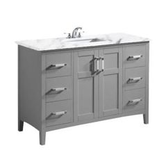 Simpli Home Winston 48 in. Bath Vanity in Warm Grey with Marble Extra Thick Vanity Top in Bombay White with White Basin - The Home Depot Basin Cabinet, Vanity Cabinet, Hidden Hinges, Frosted Glass Door, Marble Vanity Tops, Single Sink Bathroom Vanity, Thing 1, Ceramic Sink, Grey Cabinets