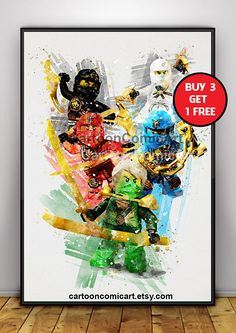 INSTANT DOWNLOAD - Watercolor Lego Ninjago, lego ninjago poster, aquarell ninjago, Watercolor Ninjago Blue Green Red White Black Print lloyd jay kai zane cole This listing is for a DIGITAL FILE of this artwork. No physical item will be sent. You can print the file at home, at a
