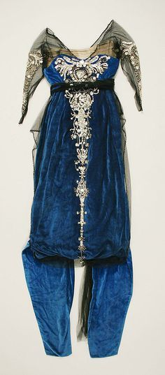 Blue silk velvet and black chiffon evening gown with metallic thread embroidery and mother-of-pearl sequins augmented with glass beads, American, 1914-1920.