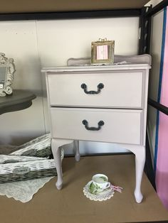 Elegant Queen Anne Bedside Painted In Chalk Paint Paloma