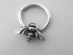Piercing Ideen Honey Bee Septum Ring by DinanRings on Etsy - Septum Piercing Schmuck, Septum Ring, Spiderbite Piercings, Septum Jewelry, Dermal Piercing, Peircings, Piercing Tattoo, Tragus, Body Jewelry