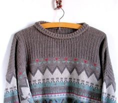 vintage 80s geometric sweater. preppy gray sweater. by artwardrobe, $24.00