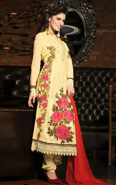 YELLOW GEORGETTE EMBROIDERED SALWAR KAMEEZ - WHRO 6005B