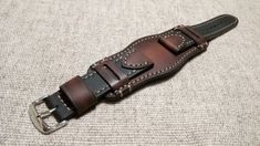 Black and brown. Cool Watches, Watches For Men, Leather Wristbands, Leather Watch Bands, Watch Case, Leather Cuffs, Leather Working, Bracelets For Men, Fashion Watches