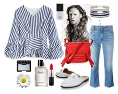 """Striped blouse"" by valya-strelc ❤ liked on Polyvore featuring Chicwish, 7 For All Mankind, Gucci, NARS Cosmetics, Accessorize, Bobbi Brown Cosmetics, MAC Cosmetics and BCBGMAXAZRIA"