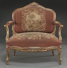 Louis XV style giltwood chair with an Aubusson