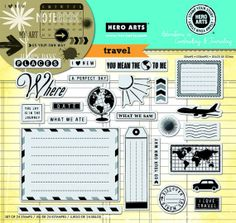 Travel Stamps 24 Cling Stamps Envelope map tag by myrubberstamp, $19.00