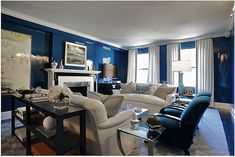 lacquered walls blue and white interior living room design