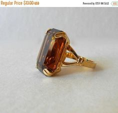 Your place to buy and sell all things handmade Vintage Brooches, Vintage Earrings, Vintage Jewelry, Topaz Color, Cocktail Rings, 18k Gold, Vintage Items, Cufflinks, Buy And Sell