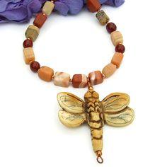 Carved Bone #Dragonfly Pendant #Necklace, #Handmade Beaded Jasper Copper Artisan Jewelry @ShadowDog #ShadowDogDesigns #Indiemade - $60.00