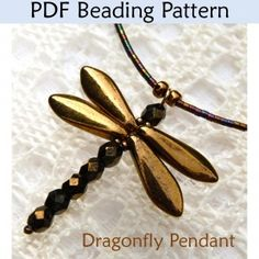 Beading Tutorial Pattern - Jewelry Making Beaded Necklaces - Simple Bead Patterns - Dragonfly Necklace Dragonfly Necklace PDF Beading Pattern Make a beautiful dragonfly necklace with this simple beading Beaded Dragonfly, Dragonfly Necklace, Dragonfly Pendant, Beaded Bead, Beaded Necklaces, Lariat Necklace, Easy Beading Patterns, Beaded Jewelry Patterns, Bead Patterns
