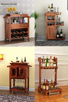 Bar trolleys are often found handy for storing drinks and other bar accessories. We use bar trolley for home mainly in the kitchen or dining area. #woodenstreet #furniture #furniturebondedwithlove #MakeinIndia #barcabinets #bartrolleys #winedine #winestorage Bar Trolley, Serving Trolley, Wooden Street, Wooden Bar, Bar Accessories, Wine Storage, Bar Furniture, Dining Area, Liquor Cabinet
