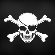 Jolly Roger with eyepatch and crossbones logo template. Dark t-shirt design. Pirate icon on black background Pirate Skull Tattoo Designs, Pirate Skull Tattoos, Pirate Tattoo, Pirate Illustration, Pirate Images, Pirate Activities, Color Pencil Sketch, Hanger Crafts, Classic Cartoon Characters