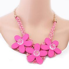 Hot Selling New Fashion Mixed Style Crystal Flower Choker Bib Chunky Statement Necklace