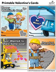 Bob the Builder Valentine's Day Card – Bob the Builder Coloring Pages for Kids Printable Cards, Printables, Bob The Builder, Happy Valentines Day, Valentine Cards, Coloring Pages For Kids, Entertaining, Sweet, Diy Welder