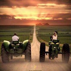 John Deere, his and her tractor off Country Life, Country Girls, Country Roads, Country Living, Country Trucks, Country Couples, Country Strong, Southern Girls, Country Charm