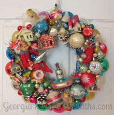 Shiny & Brite Vintage Ornament Wreath | by georgiapeachez